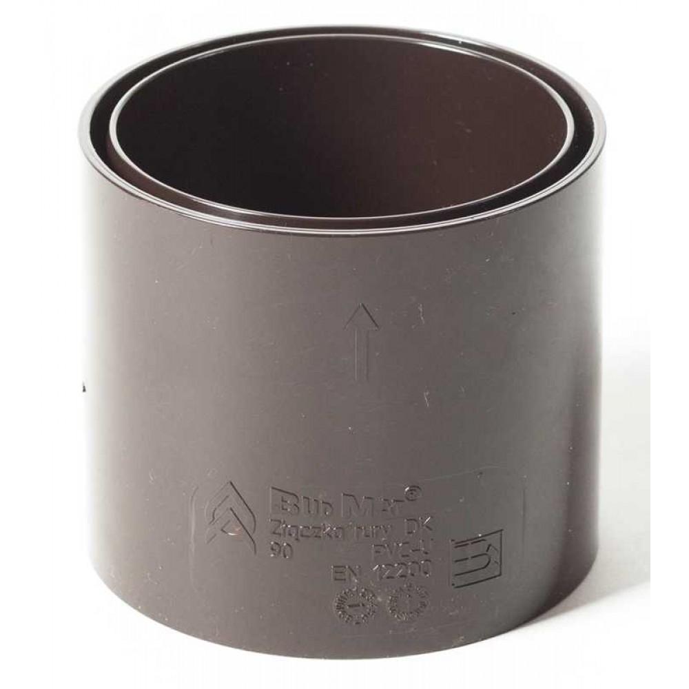 Муфта водостічної труби ProAqua Ø90 мм  темно-коричнева (RAL 8019)