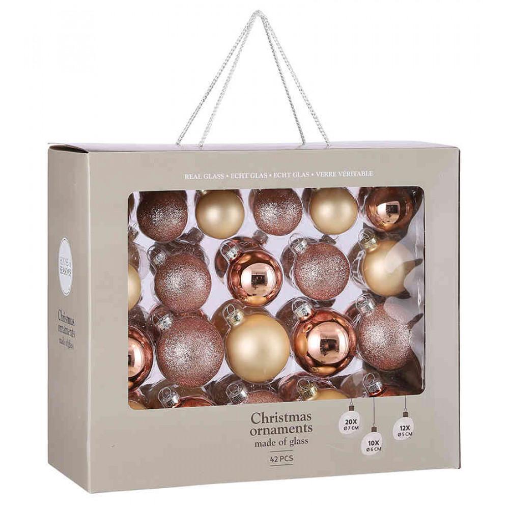 Ялинкові кульки House of Seasons комплект 42 шт рожевий