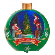 LED прикраса куля Merry Christmas Luville Collectables зелена настільна