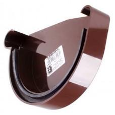 Заглушка ринви ліва з ущільнювачем коричнева Profil Ø130мм