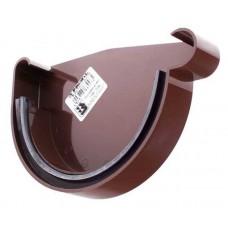 Заглушка ринви права з ущільнювачем коричнева Profil Ø130мм