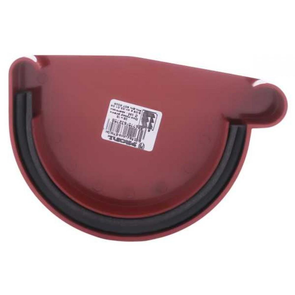 Заглушка ринви права з ущільнювачем червона Profil Ø130мм