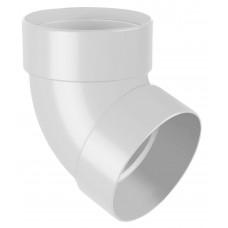 Відвід (коліно) труби двомуфтове 67° RainWay 75 мм білий