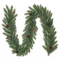 Гірлянда Creston frosted BlackBoxTrees 2,7 м зелена з шишками та ягодами