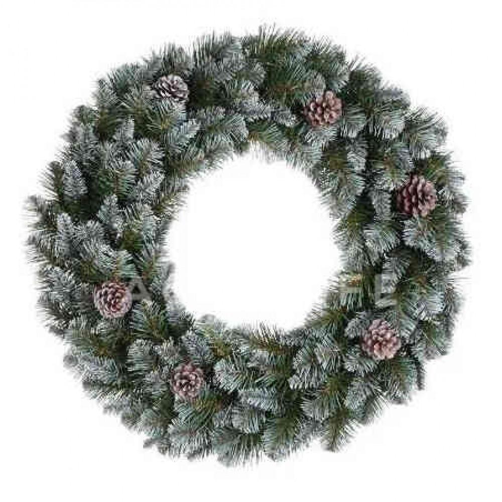 Вінок декоративний різдвяний Empress TriumphTree 45 cм зелений з інеєм та шишками