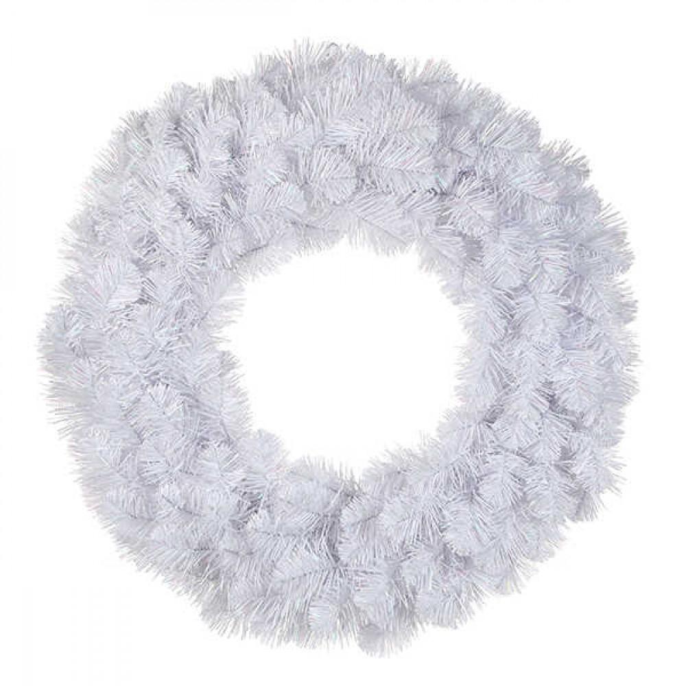 Вінок декоративний різдвяний Icelandic Iridescent TriumphTree 45 cм білий з блиском
