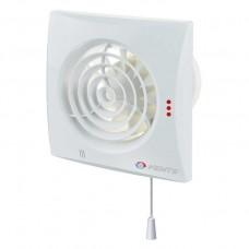 Вытяжной вентилятор ВЕНТС Квайт 150 ВТН белый с обратным клапаном, датчиком влажности, таймером и шнурковым выключателем.